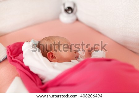 Baby Monitor Recording Cute Baby Girl Stock Photo Royalty