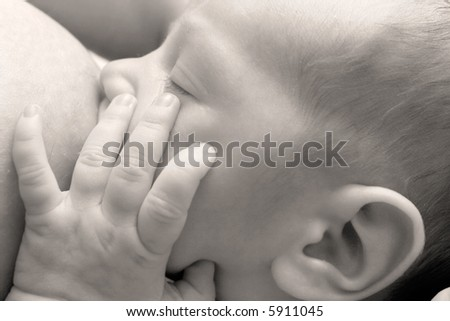 baby near mother's breast - stock photo