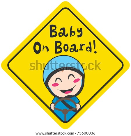 Baby on board yellow diamond warning sign for safe driving with blue helmet - stock photo