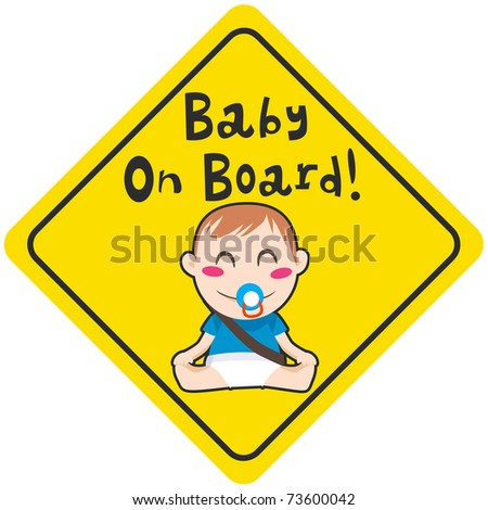 Baby on board yellow diamond warning sign for vehicle safety with seatbelt - stock photo
