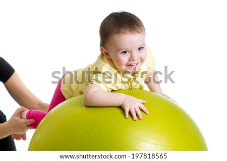 baby on fitness ball - stock photo