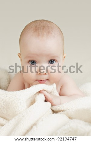 baby on the bed - stock photo