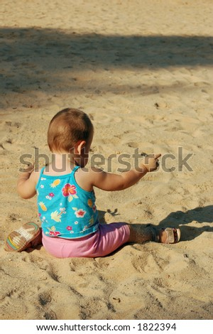 baby on the summer beach - stock photo