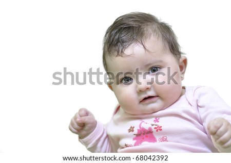 Baby on white background.