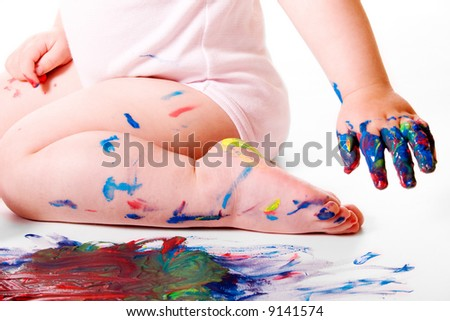 Baby Painting Session - stock photo