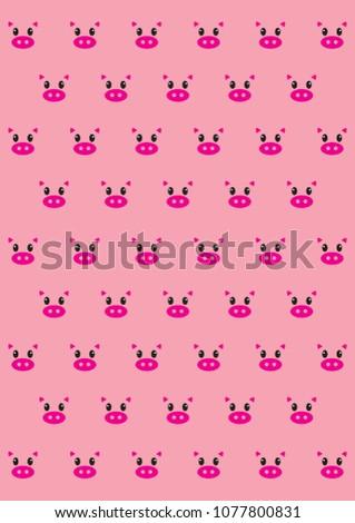 Baby Pig Wallpaper Stock Illustration 1077800831