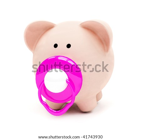 Baby piggybank isolated over a white background