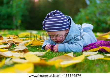Baby playing with leaves. - stock photo