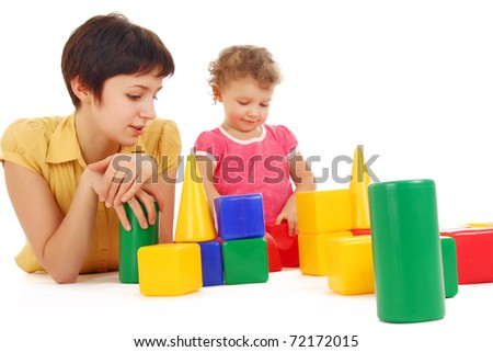 baby playing with mother, isolated over white - stock photo