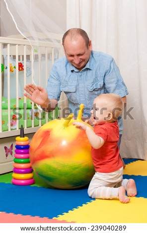 baby plays in a nursery