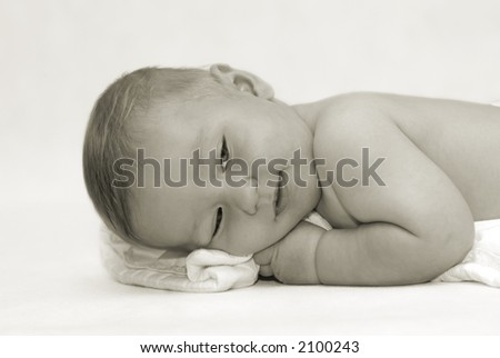 Baby portrait in b&w