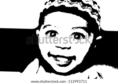 Baby portrait in black and white pop art