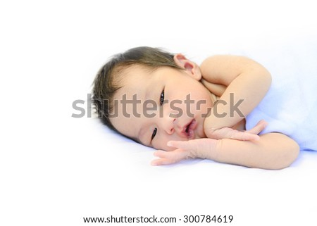 Baby portrait on isolated white background