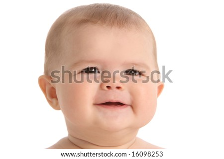 Baby portrait on white backgrond - stock photo