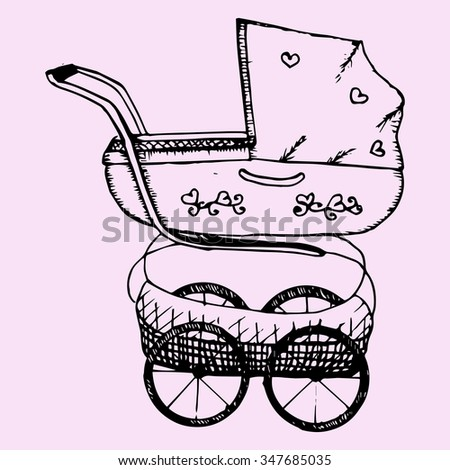 Baby pram, doodle style, sketch illustration, hand drawn, raster - stock photo