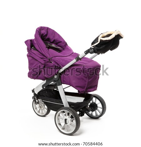 baby pram isolated on white - stock photo