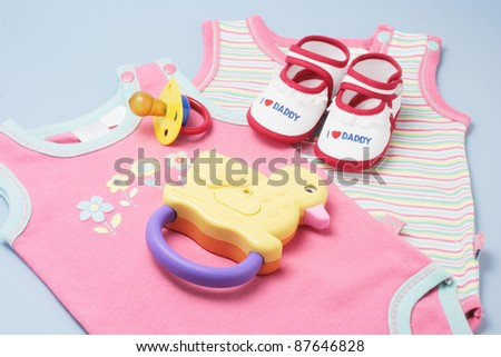 Baby Products on Blue Background - stock photo