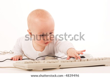 Baby push button on - stock photo
