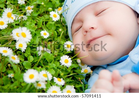baby resting on the grass with camomiles - stock photo