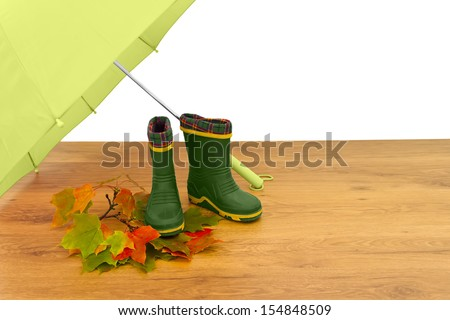 Baby rubber boots umbrella maple leaves floor isolated white background green - stock photo