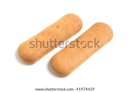 Baby rusks on white - stock photo