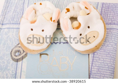 Baby's first booties and blue photoalbum - stock photo