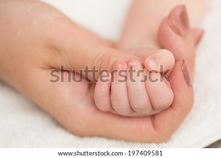 Baby's hand gripping adult finger. Close up - stock photo