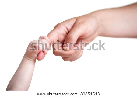 baby's hand holding finger of mother, isolated on white - stock photo