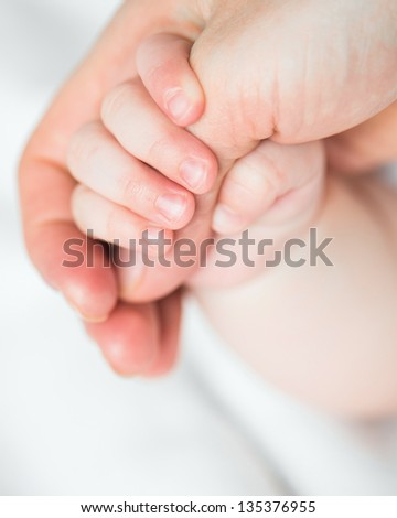 baby's hand holding mother's finger - stock photo