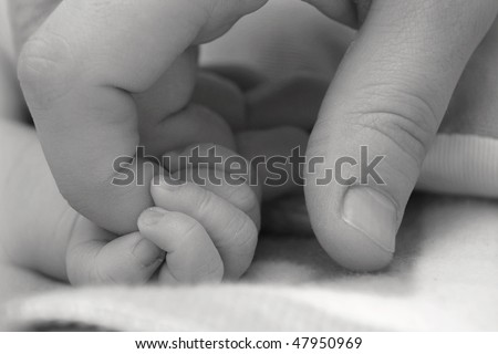 Baby's hand keeping adult finger - stock photo