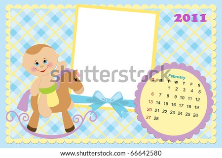 Baby's monthly calendar for february 2011 with photo frames