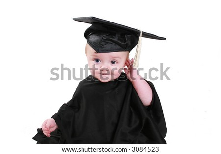 Baby's show growth and potential early one.  Wearing a graduation gown and cap. - stock photo