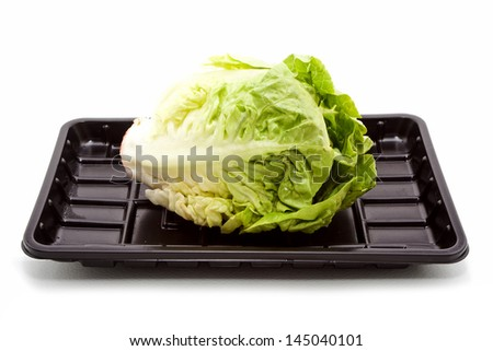 Baby Salad Black Plastic Tray isolated on white background