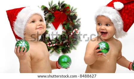 baby - Santa claus - stock photo