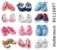 Baby shoes collection - stock photo