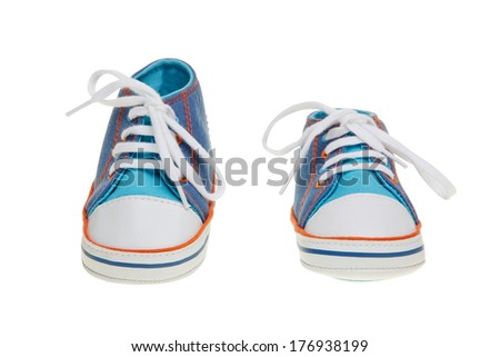 Baby shoes on white background with clipping path - stock photo