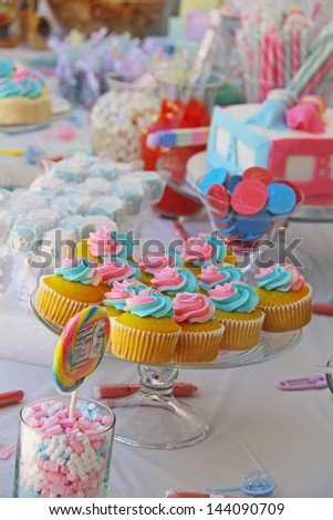 Baby shower and sweets on the table