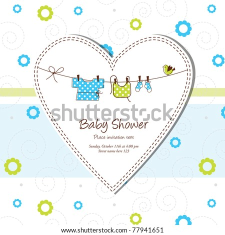 Baby shower card - stock photo