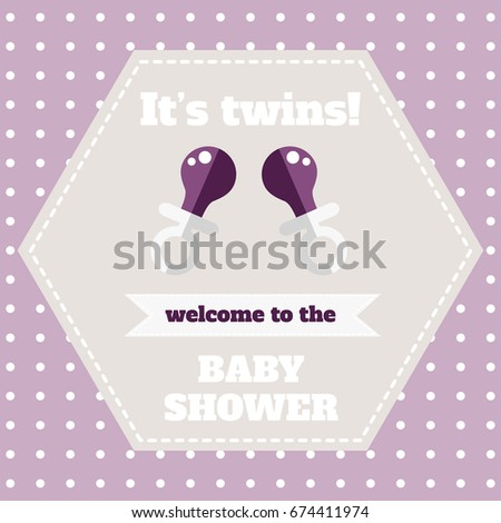 Baby Shower Card Template. Welcome Baby Party. Purple Card For Newborn  Twins. Design