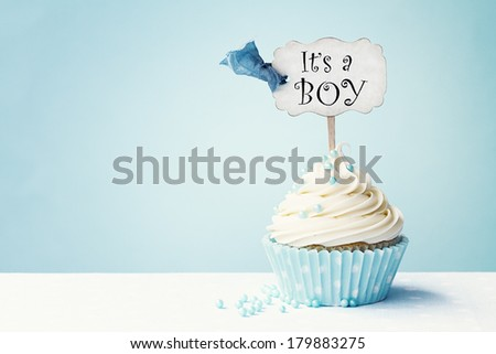 Baby shower cupcake with copy space to side - stock photo