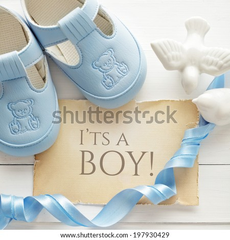 baby shower decoration - it is a boy - stock photo