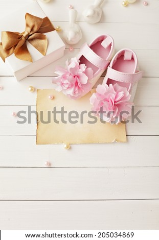 baby shower decoration - it is a girl  - stock photo