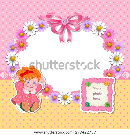 Baby shower for girl with flowers and girl. Raster version