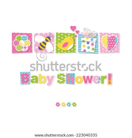 baby shower greeting card illustration - stock photo
