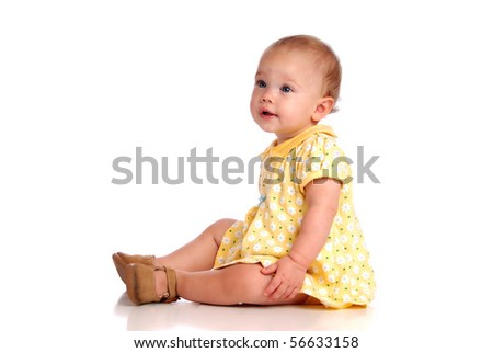 Baby Sitting and Looking Sideways - stock photo