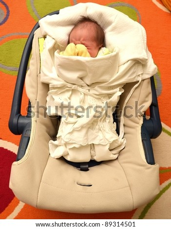 baby sleep in car seat - stock photo
