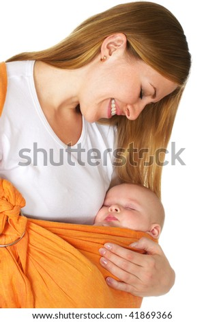 baby sleep in mother arms over white