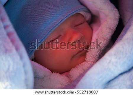 Baby sleeping outside portrait