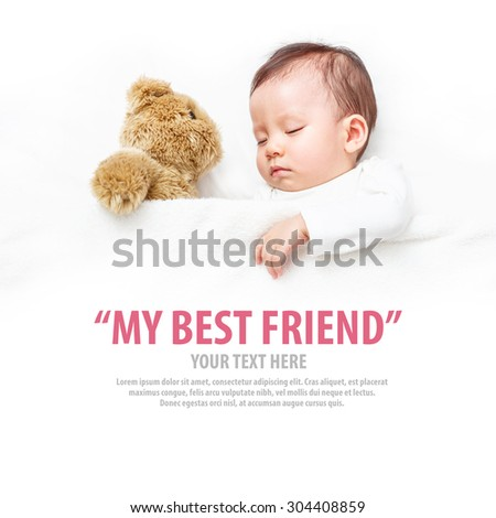 Baby sleeping with her teddy bear, new family and love concept.