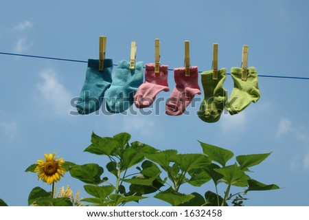 baby socks on a clothes-line with sunflower on the background - stock photo